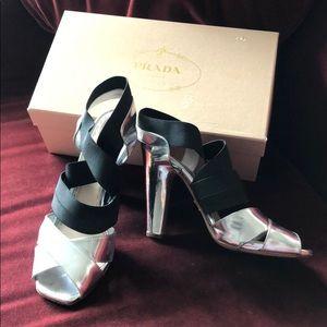 Shoes - PRADA black & silver elastic strap heel sandals